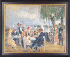 "Bild ""Gartencafé an der Elbe"" (1902), gerahmt"