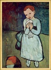 """Bild """"Mädchen mit Taube"""" (1901), gerahmt"""