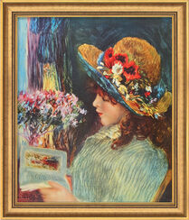 """Bild """"Lesendes Mädchen"""" (1886), gerahmt"""