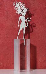 """Sternzeichen-Skulptur """"Löwe"""" (23.7.-23.8.), Edelstahl auf Sockel"""