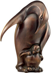 "Skulptur ""Pinguin mit Jungem"", Bronze"