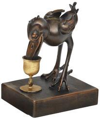 "Skulptur ""Hans Huckebein mit Weinglas"", Metallguss"