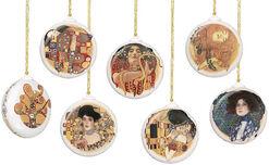 6er Set Weihnachtsbaumanhänger, Porzellan mit Goldauflage