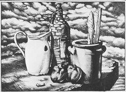 """Bild """"Stillleben mit Gänseflügel"""" (1981), ungerahmt"""