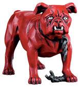 """Skulptur """"Simplicissimus-Bulldogge"""", Version in Kunstguss handbemalt"""