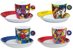 4er-Set Espressotassen mit Künstlermotiven