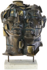 "Skulptur ""Zweisamkeit"", Kunstmarmor bronziert"