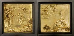 """2 Wandreliefs """"Erschaffung der Eva"""" und """"Moses empfängt die Gesetzestafeln"""" im Set (Reduktion)"""