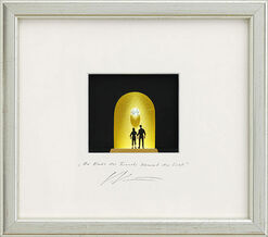 """3D-Bild """"Am Ende des Tunnels kommt das Licht"""" mit LED-Beleuchtung, gerahmt"""