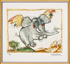 """Bild """"Glücklicher Elefant"""", gerahmt"""