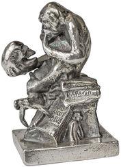 """Skulptur """"Affe mit Schädel"""" (1892-93), Version in Metallguss versilbert"""