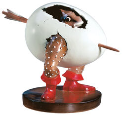 """Skulptur """"Ei-Monster"""", Kunstguss handbemalt"""