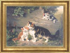 """Bild """"Katzenmutter mit drei Jungen"""", gerahmt"""