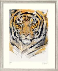 """Bild """"Tiger (Menschenmassen)"""" - aus Bilderzyklus """"Bedrohte Tierwelt"""", gerahmt"""