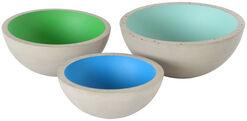 """3 Betonschalen """"Half 3"""" im Set, Version blau/grün"""