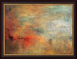 """Bild """"Sonnenuntergang über einem See"""" (1840), gerahmt"""
