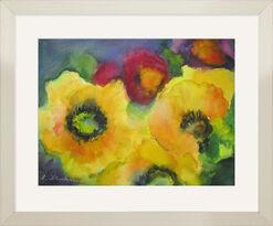 """Bild """"Sonnenblumen mit Astern"""" (Original / Unikat), gerahmt"""