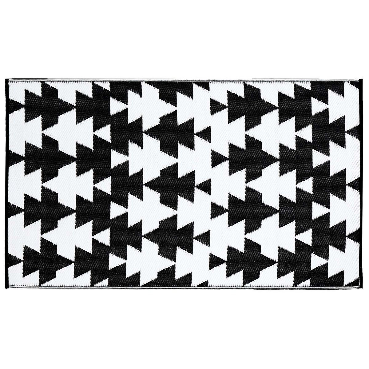 outdoor teppich grafik ca b 90cm x l 150cm schwarz wei. Black Bedroom Furniture Sets. Home Design Ideas