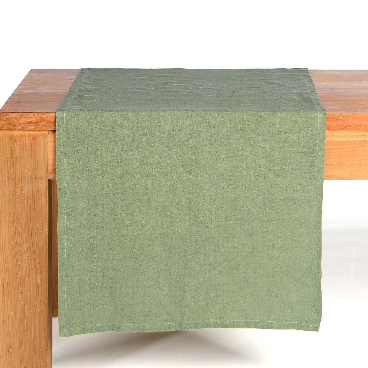 tischl ufer leinen gr n ca b 40 x l 150 cm 100 leinen depot de. Black Bedroom Furniture Sets. Home Design Ideas