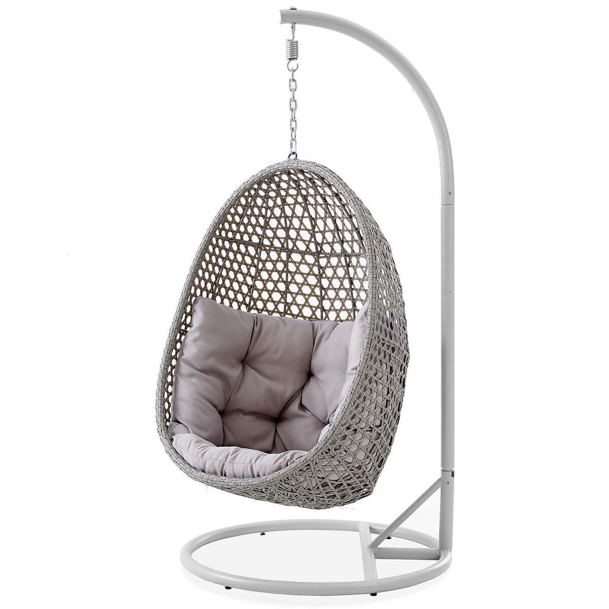 h ngestuhl polyrattan grau ca b 90 x h 190 x t 90 cm kissen 100 polyester depot de. Black Bedroom Furniture Sets. Home Design Ideas