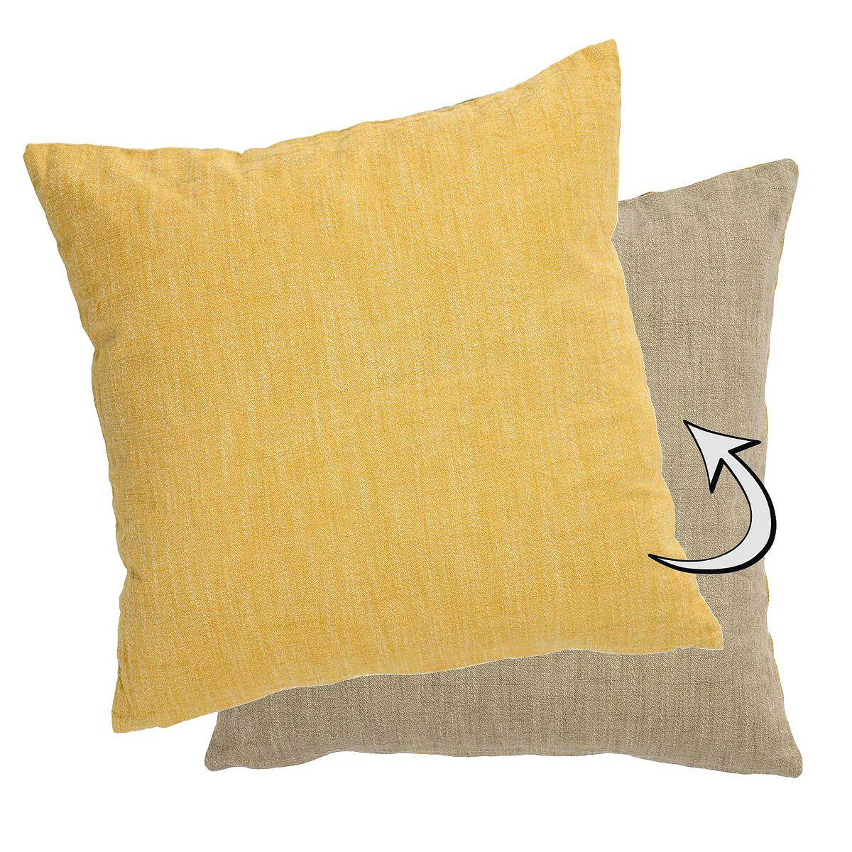 kissen zweifarbig natur gelb ca b 45 x l 45 cm depot de. Black Bedroom Furniture Sets. Home Design Ideas