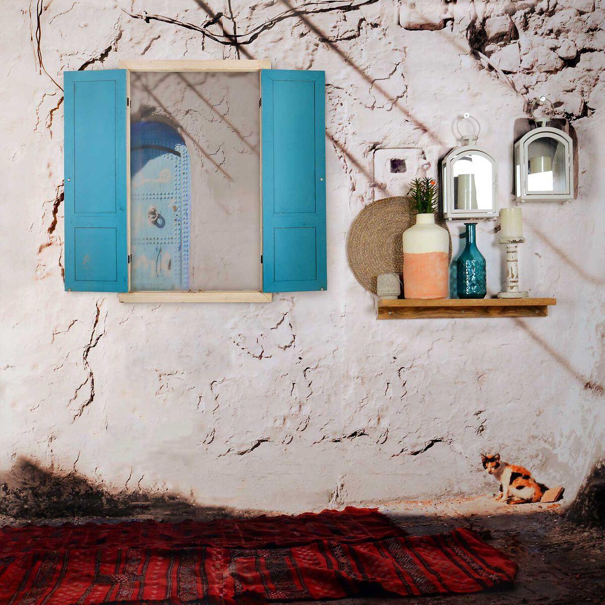 wanddeko spiegel aus mischholz blau depot de. Black Bedroom Furniture Sets. Home Design Ideas
