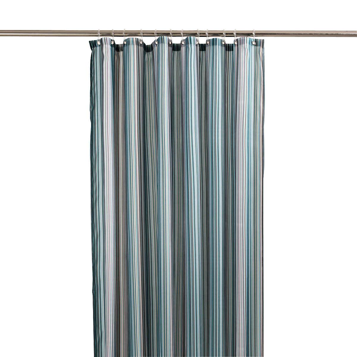 duschvorhang polyester t rkis streifen depot de. Black Bedroom Furniture Sets. Home Design Ideas