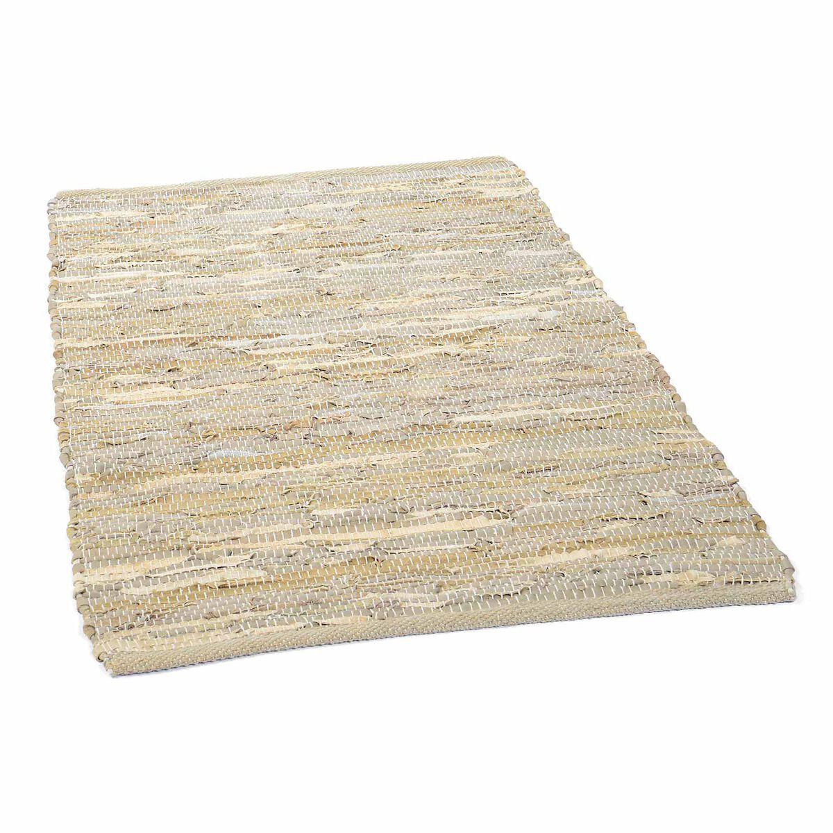 teppich aus recyceltem leder ca b 60 x l 90cm hellbeige depot de. Black Bedroom Furniture Sets. Home Design Ideas