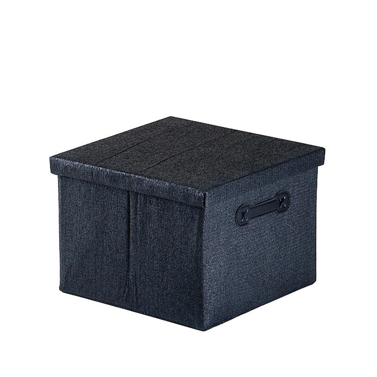 aufbewahrungsbox mit deckel und griffen ca l 32 x b 32 x h 23cm schwarz depot de. Black Bedroom Furniture Sets. Home Design Ideas