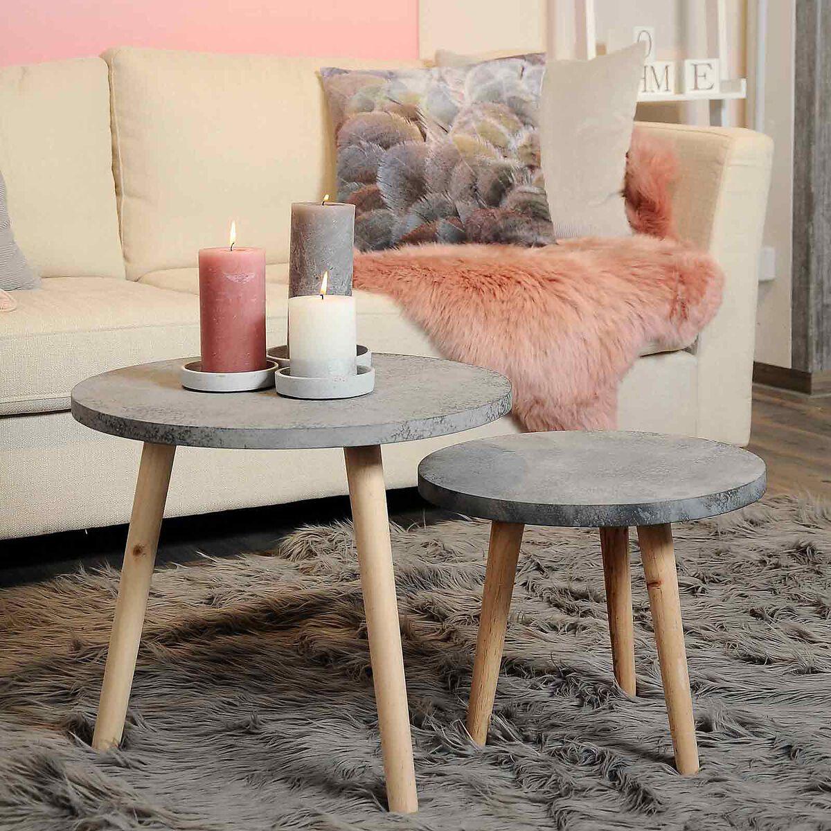 beistelltisch in betonoptik aus kiefernholz d ca 50cm h ca 42cm grau depot de. Black Bedroom Furniture Sets. Home Design Ideas