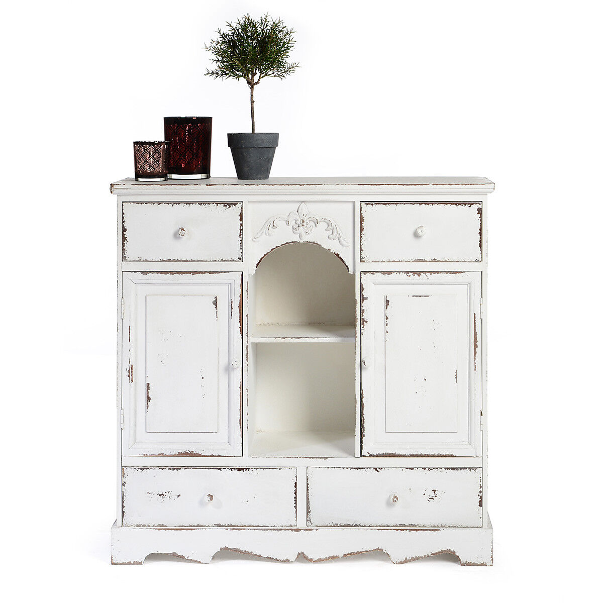 kommode vintage look tanne wei ca b 73 x t 26 x h 75 cm depot de. Black Bedroom Furniture Sets. Home Design Ideas