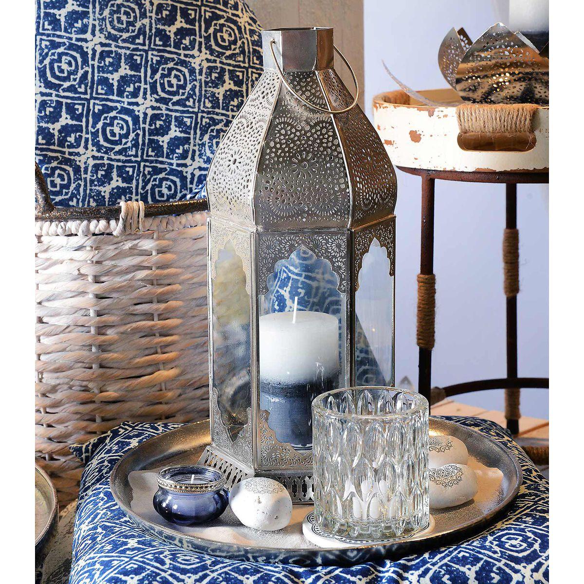laterne marrakesh ca d 18cm x h 38cm silber depot de. Black Bedroom Furniture Sets. Home Design Ideas