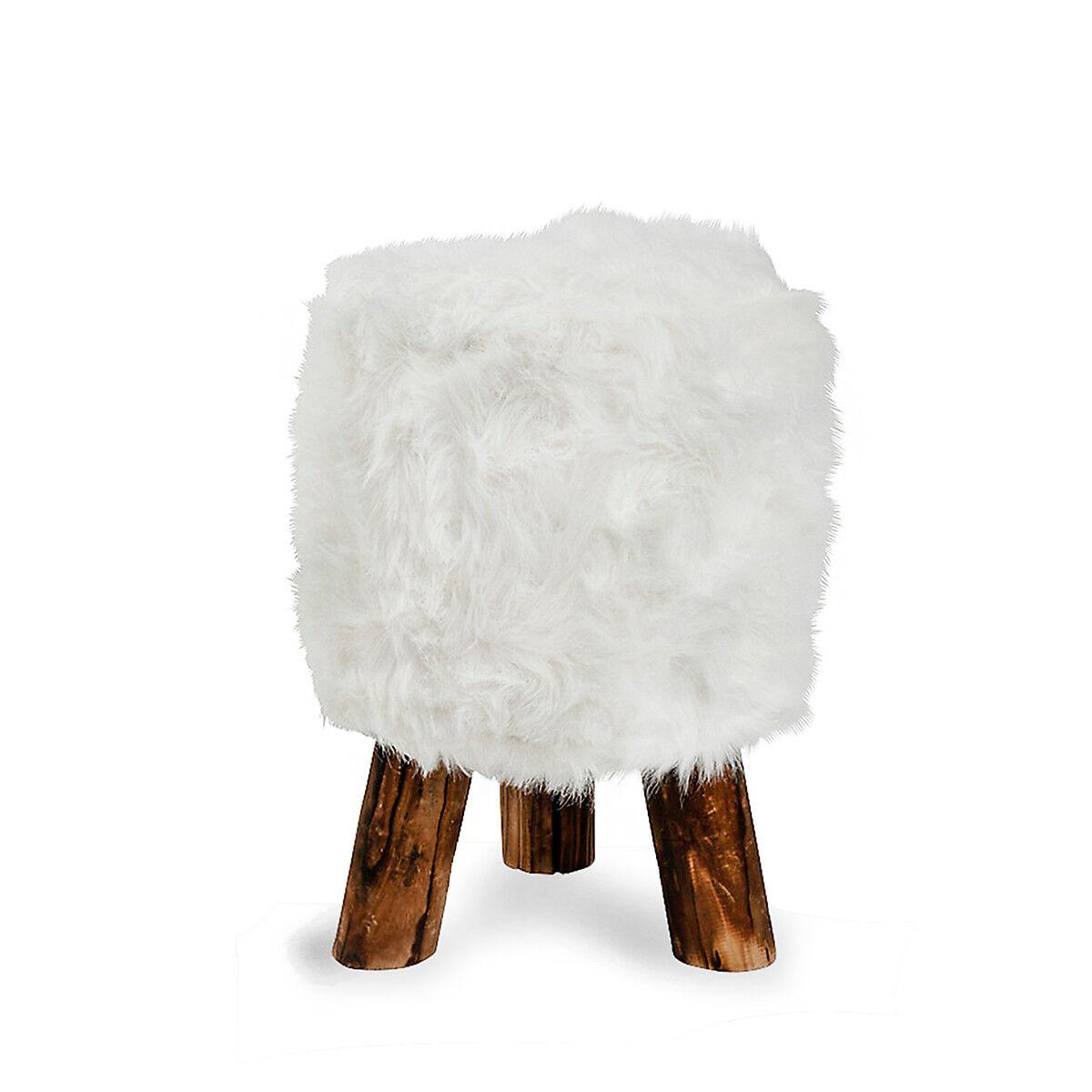 hocker aus fell wei ca d 30 x h 45 cm bez ge 100 polyester depot de. Black Bedroom Furniture Sets. Home Design Ideas
