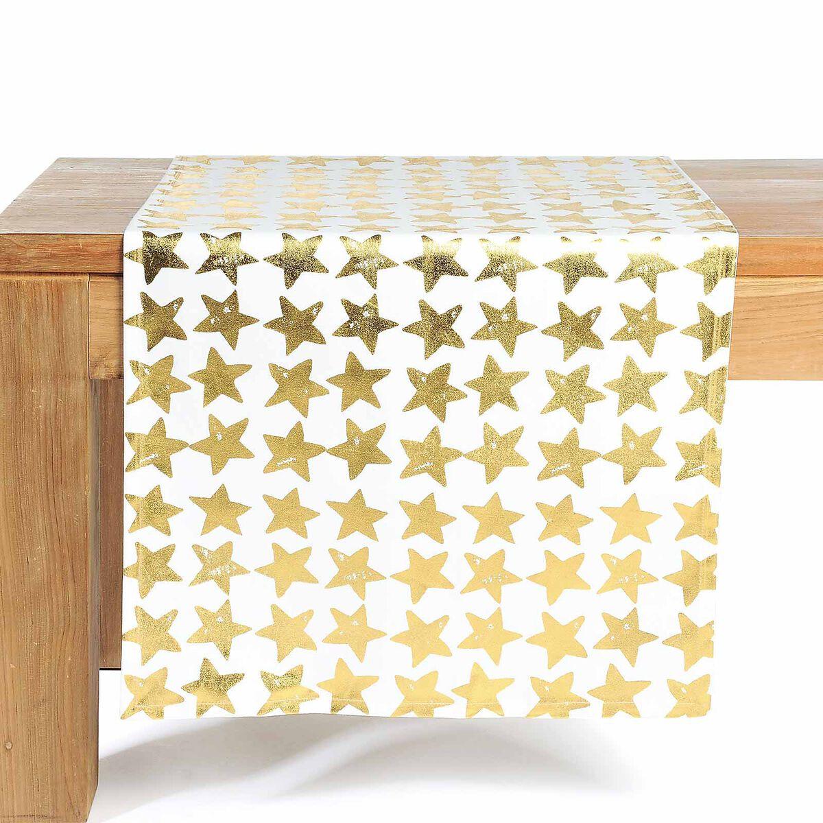 tischl ufer vintage sterne gold ca b 40 x l 150 cm 100 baumwolle depot de. Black Bedroom Furniture Sets. Home Design Ideas