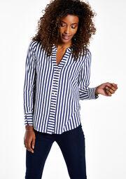 Gestreepte blouse met open hals, , hi-res