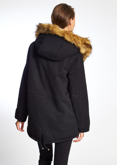 Parka bicolore capuche fausse fourrure - BLACK - 12000444_1119