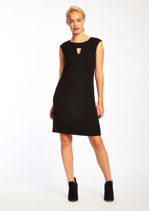 Effen jurk met korte mouwen - BLACK - 08005223_1119