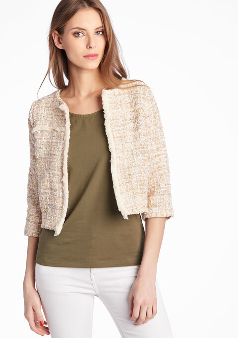 Short tweed jacket with round neck - LOLALIZA