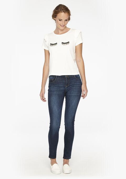 Skinny jeans, normale taille en 5 zakken - DARK BLUE - 06003072_501