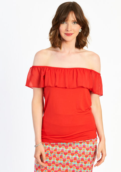 Effen T-shirt met ruches - TOMATO FLAME - 02005053_1457