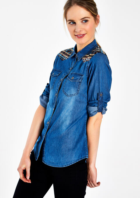 Jeanshemd met strass - MEDIUM BLUE - 05003317_500