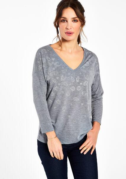 T-shirt avec col V - MEDIUM GREY MEL - 02005462_1068