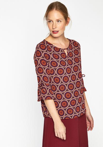 Geprinte blouse met uitlopende mouwen - PURPLE PLUM - 05003057_1510
