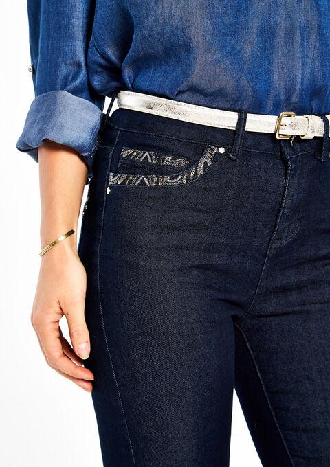 Jeans slim à sequins et ceinture - DARK BLUE - 06003279_501