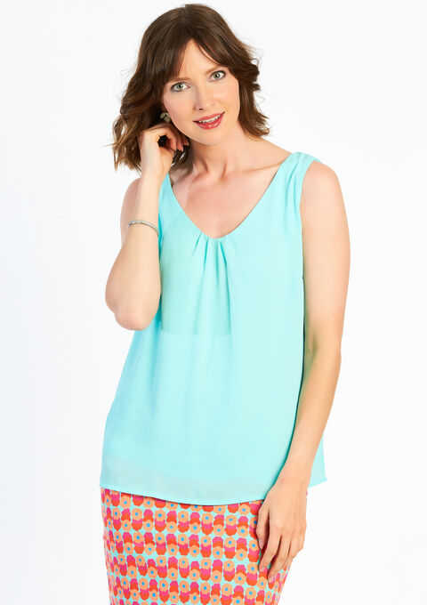 Effen blouse - ARUBA BLUE - 05002732_1589