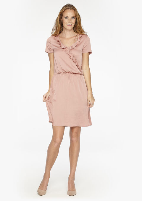 Effen jurk met wikkeleffect - PINK FLESH - 08005137_1471