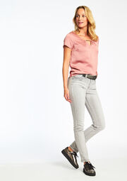Slim fit jeans met riem, , hi-res