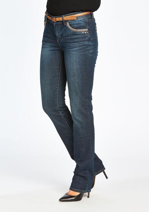 Rechte jeans normale taille met riem - DARK BLUE - 06002919_501
