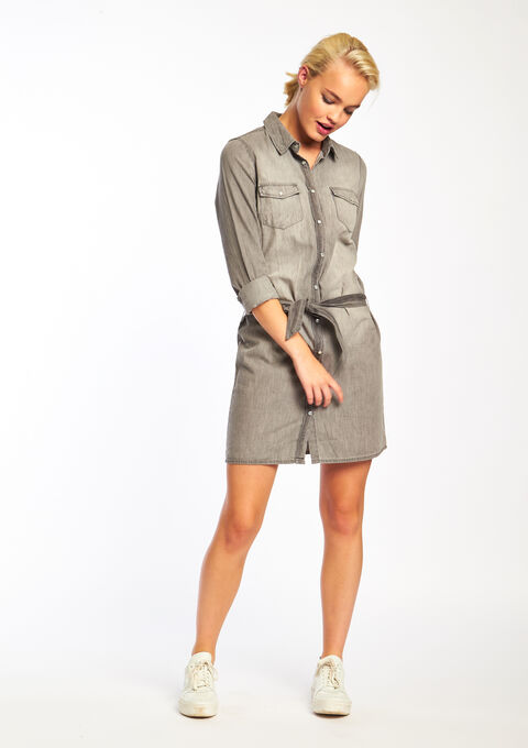 Denim overhemdjurk met drukknopen - LIGHT GREY - 08005177_504