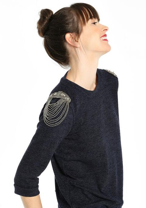 Sweat met pareltjes op de schouders - NAVY MARINE - 03001093_1650